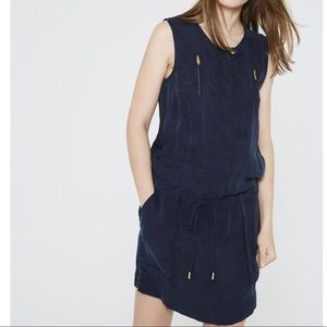 IKKS Dress M Blue Navy Cupro Drawstring Waist